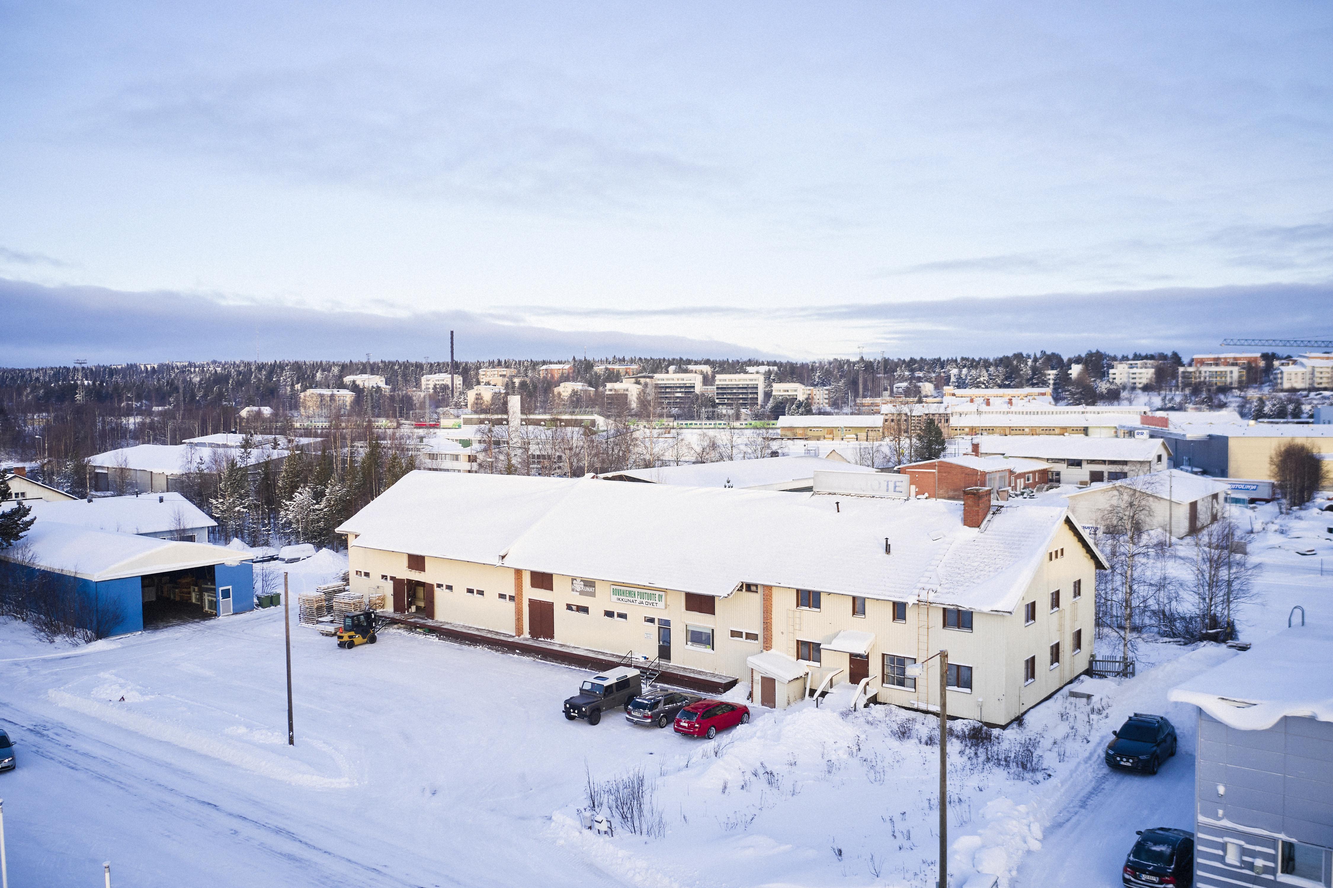 Rovaniemen Puutuote Oy:n tiloista ulkokuva.