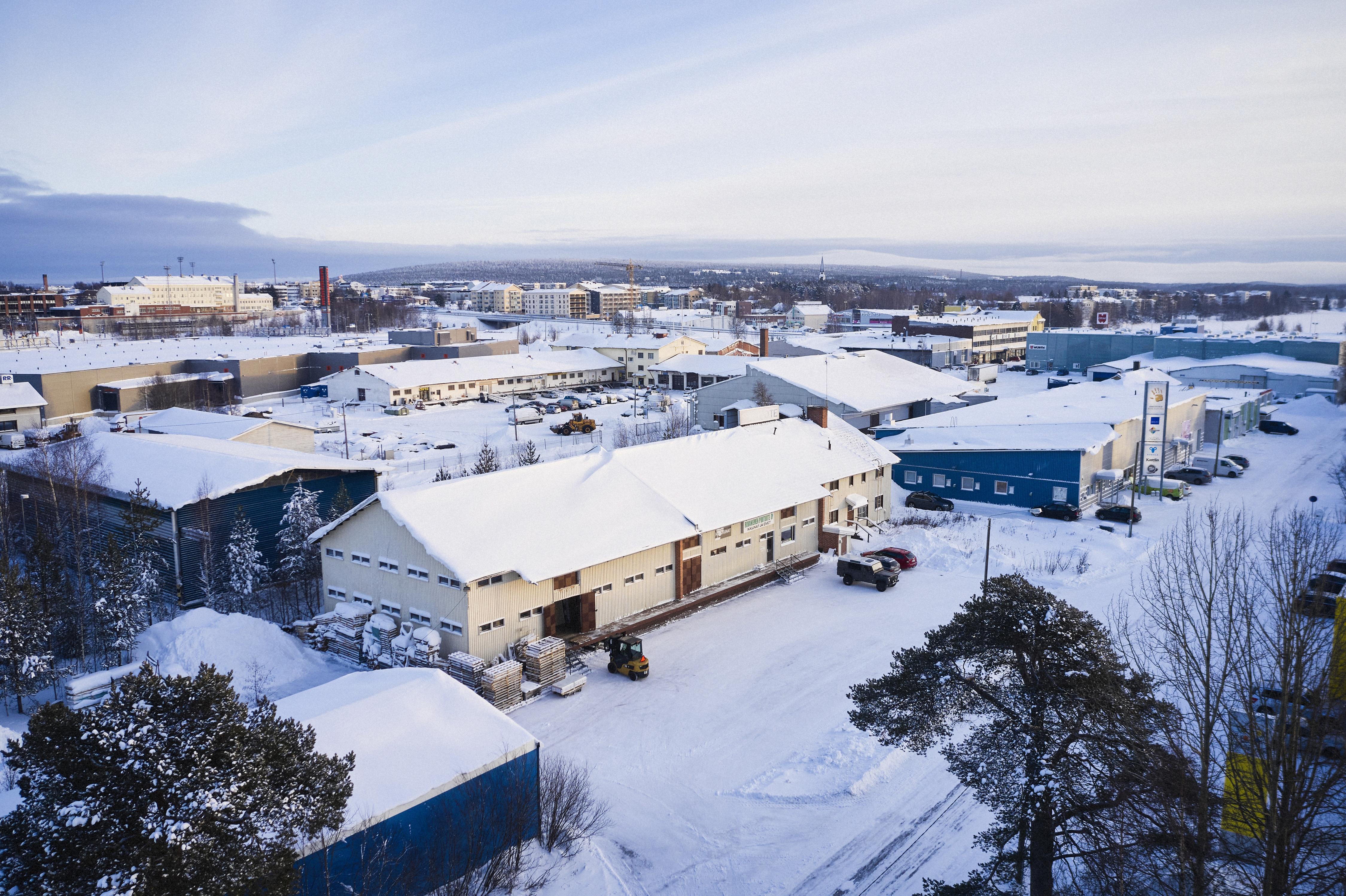 Rovaniemen Puutuote Oy tiloista ilmakuva.